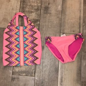 Girls bathing suit two piece size 6 never worn